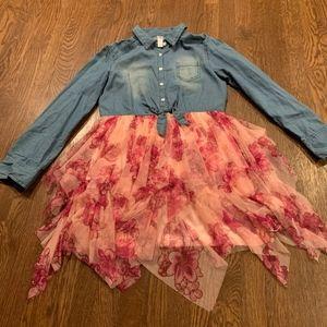 Justice Denim Shirt Pink Floral Fairy Skirt Dress